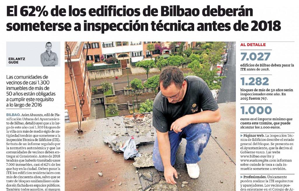 El 62% de los edificios de Bilbao deberán someterse a inspección técnica antes de 2018
