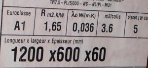 Se observa la clasificación según la Euroclase A1 de un aislamiento