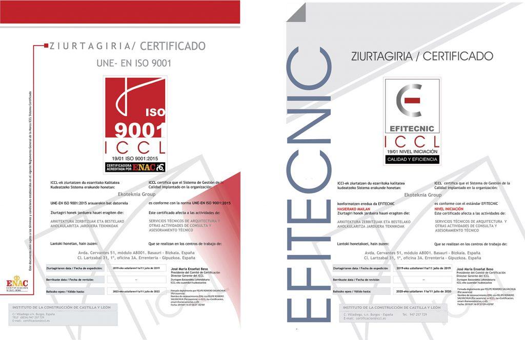 Ekoteknia obtiene las certificaciones ISO 9001:2015 y Efitecnic